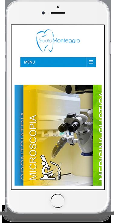 mockup iPhone dello sviluppo del sito web vetrina responsivo per Studio Monteggia visibile da mobile