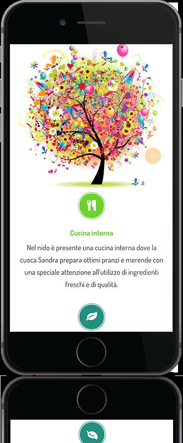 mockup dello sviluppo del sito internet responsivo per Bright Academy visibile su iphone
