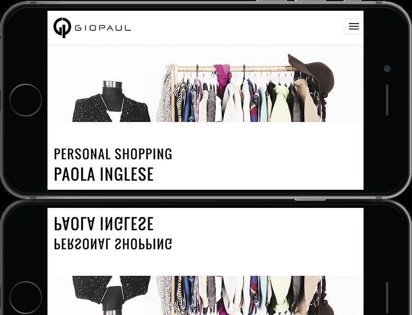 mockup dello sviluppo della pagina della pagina di personal shopping del sito web responsivo ecommerce per lo shop di Giopaul visibile anche da iPhone