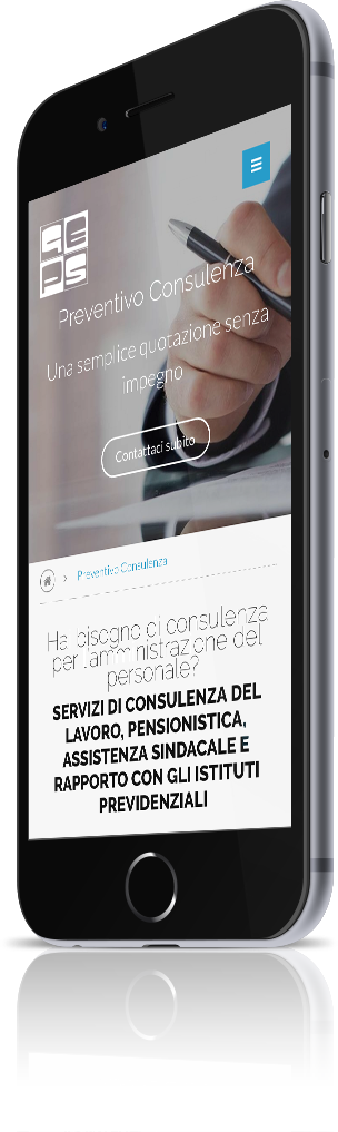 mockup dello sviluppo del sito internet responsivo visibile da iphone per Geps