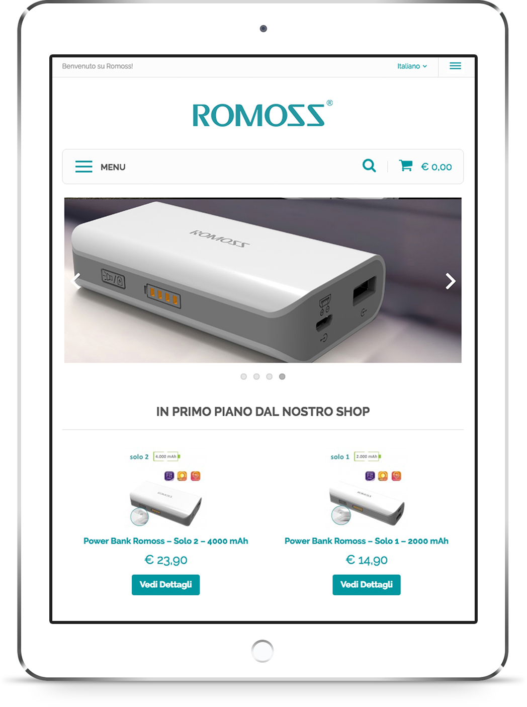 mockup iPad dello sviluppo della homepage del sito web ecommerce responsivo per Romoss visibile da tablet