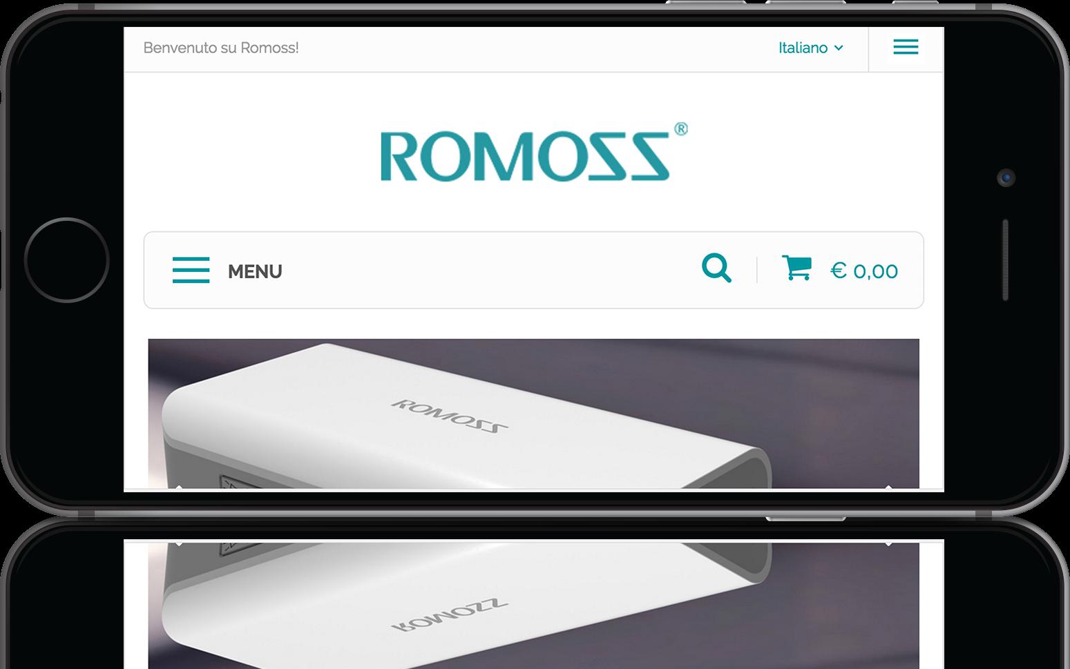 mockup iPhone dello sviluppo del sito web ecommerce responsivo per Romoss visibile da mobile