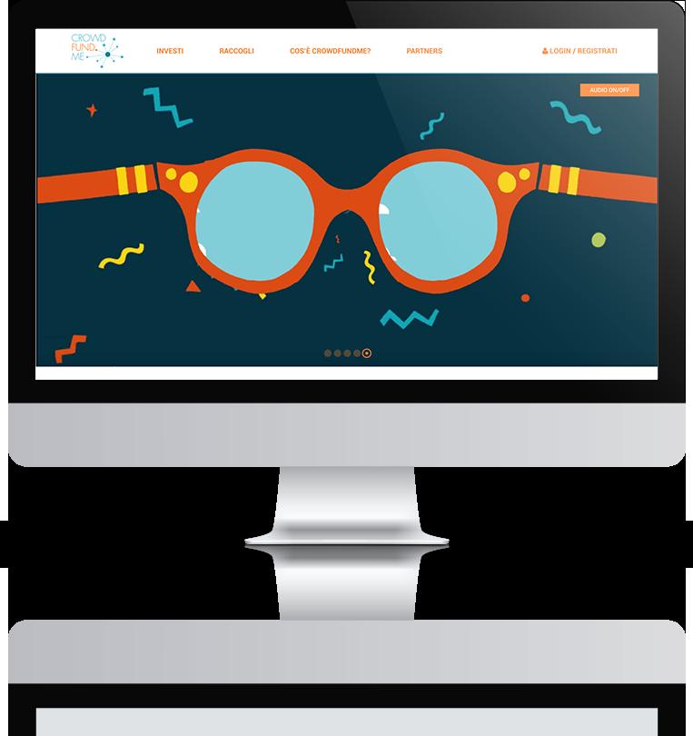 mockup dello sviluppo della homepage del sito web responsivo della startup crowdfundme