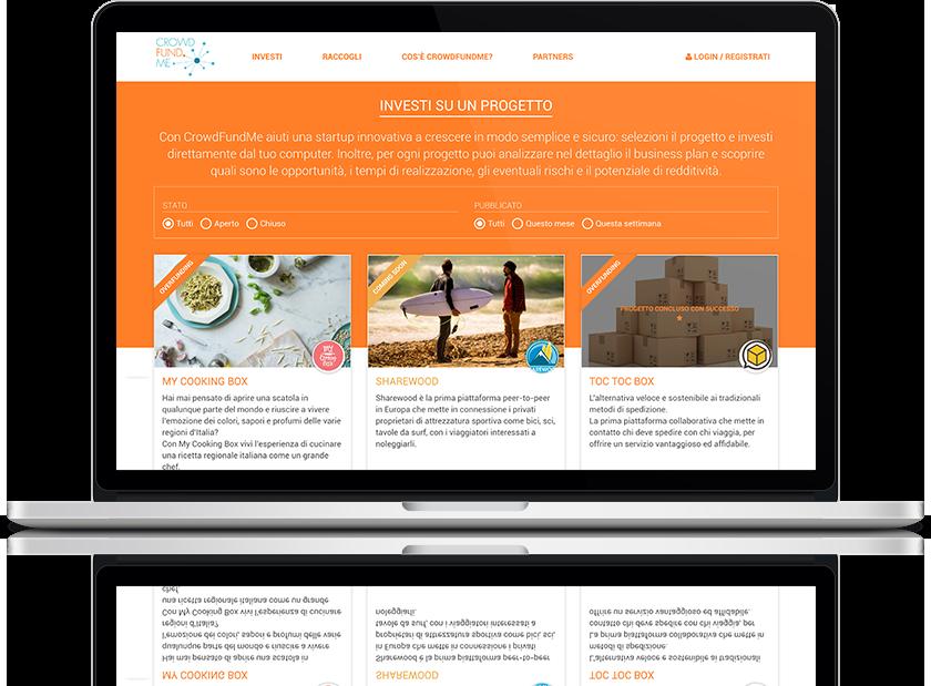 mockup dello sviluppo dei progetti su cui investire sul sito web responsivo su laptop della startup crowdfundme