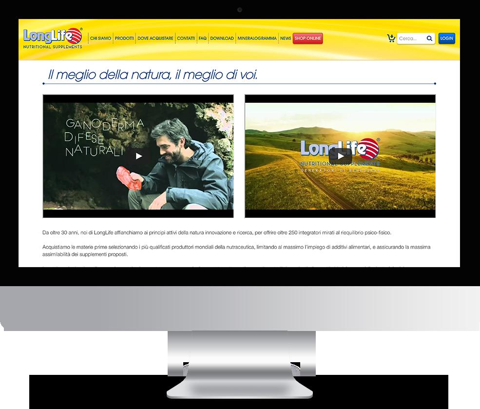 mockup dello sviluppo del sito internet responsivo ecommerce per lo shop online degli integratori longlife