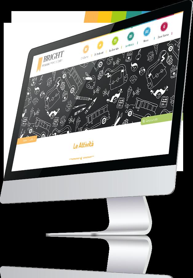 mockup dello sviluppo della homepage del sito internet responsivo per Bright Academy