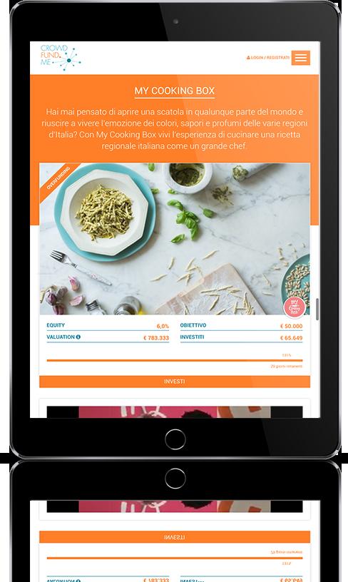 mockup dello sviluppo del sito web responsivo su tablet crowdfundme progetto my cooking box