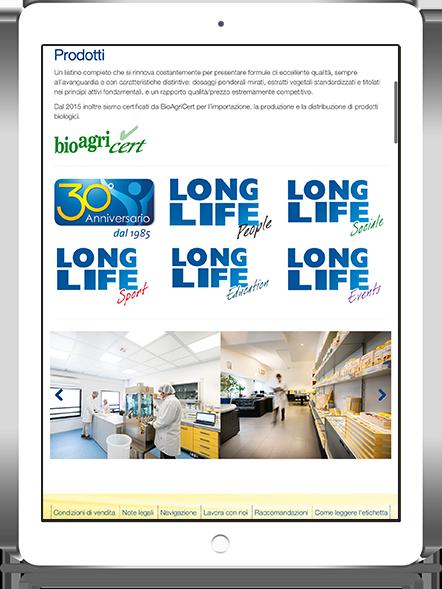mockup dello sviluppo del sito internet responsivo ecommerce per longlife navigabile anche tablet