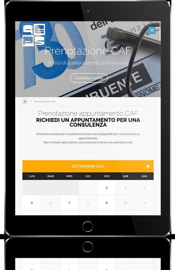 mockup dello sviluppo della pagina di calendario per prenotazione appuntamento del sito internet responsivo visibile da tablet per Geps