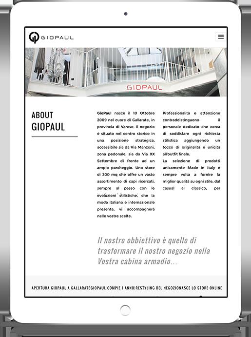 mockup dello sviluppo della pagina di about del sito web responsivo ecommerce per lo shop di Giopaul visibile anche da iPad
