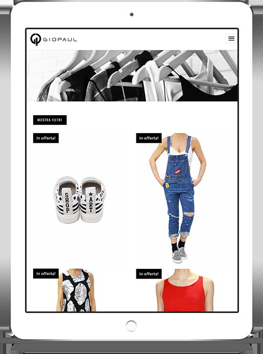 mockup dello sviluppo della pagina di shop del sito web responsivo ecommerce per lo shop di Giopaul visibile anche da iPad