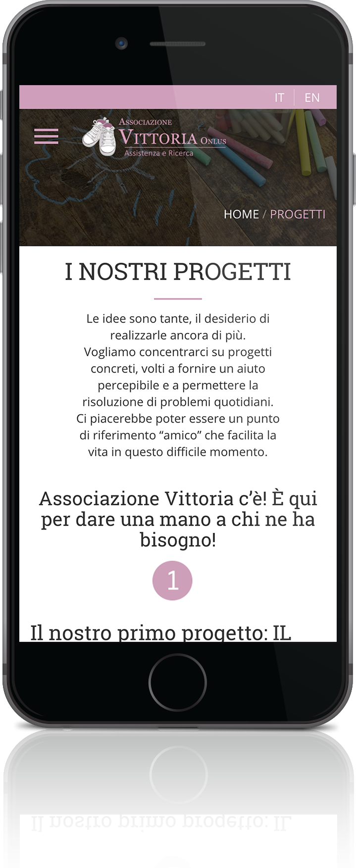 mockup mobile sviluppo sito web responsivo associazione vittoria progetti