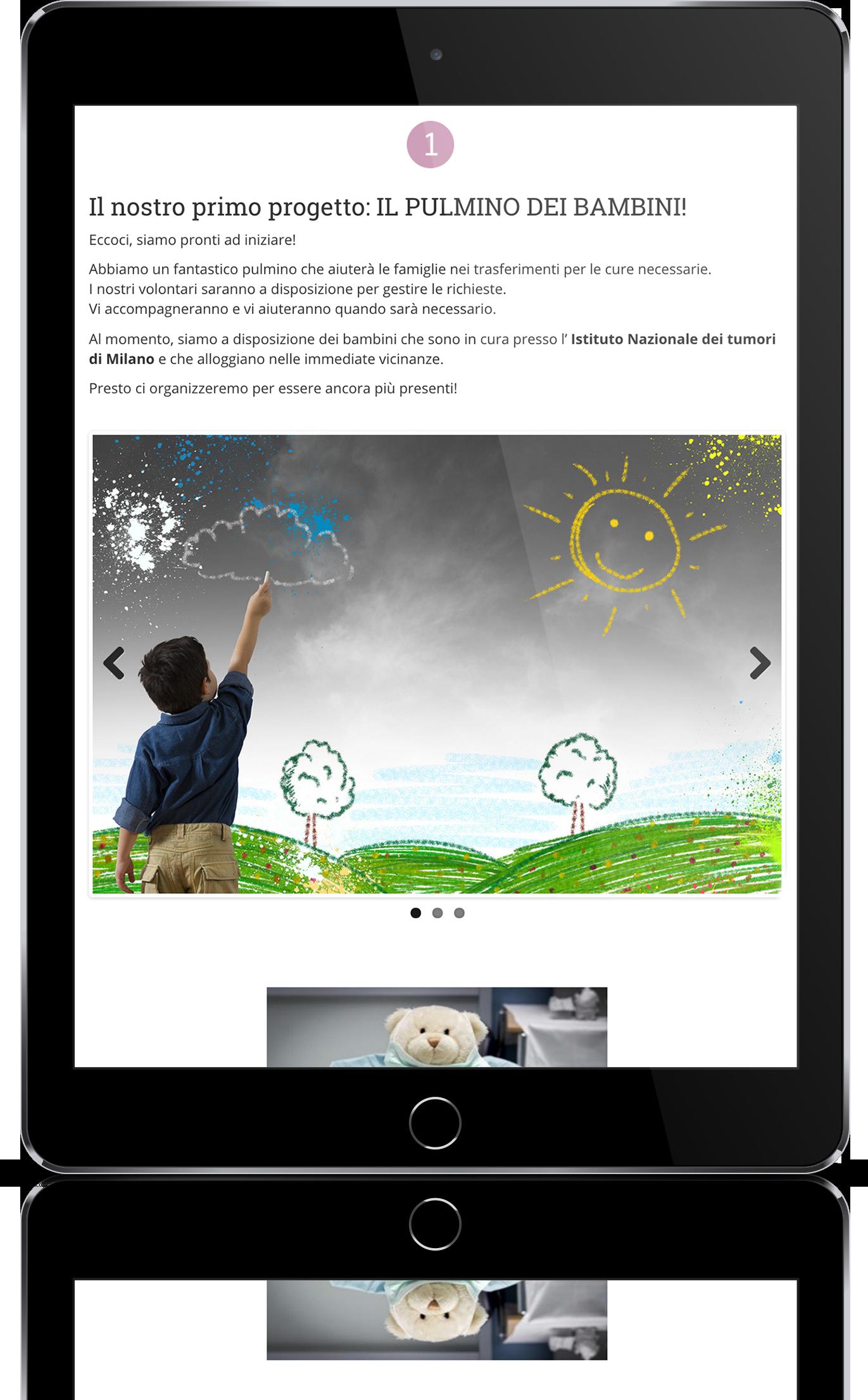 mockup tablet sviluppo sito web responsivo associazione vittoria