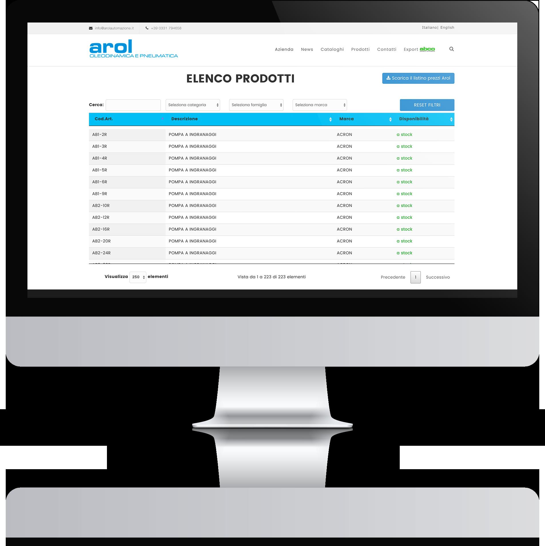 mockup desktop sviluppo sito web responsivo arol automazione