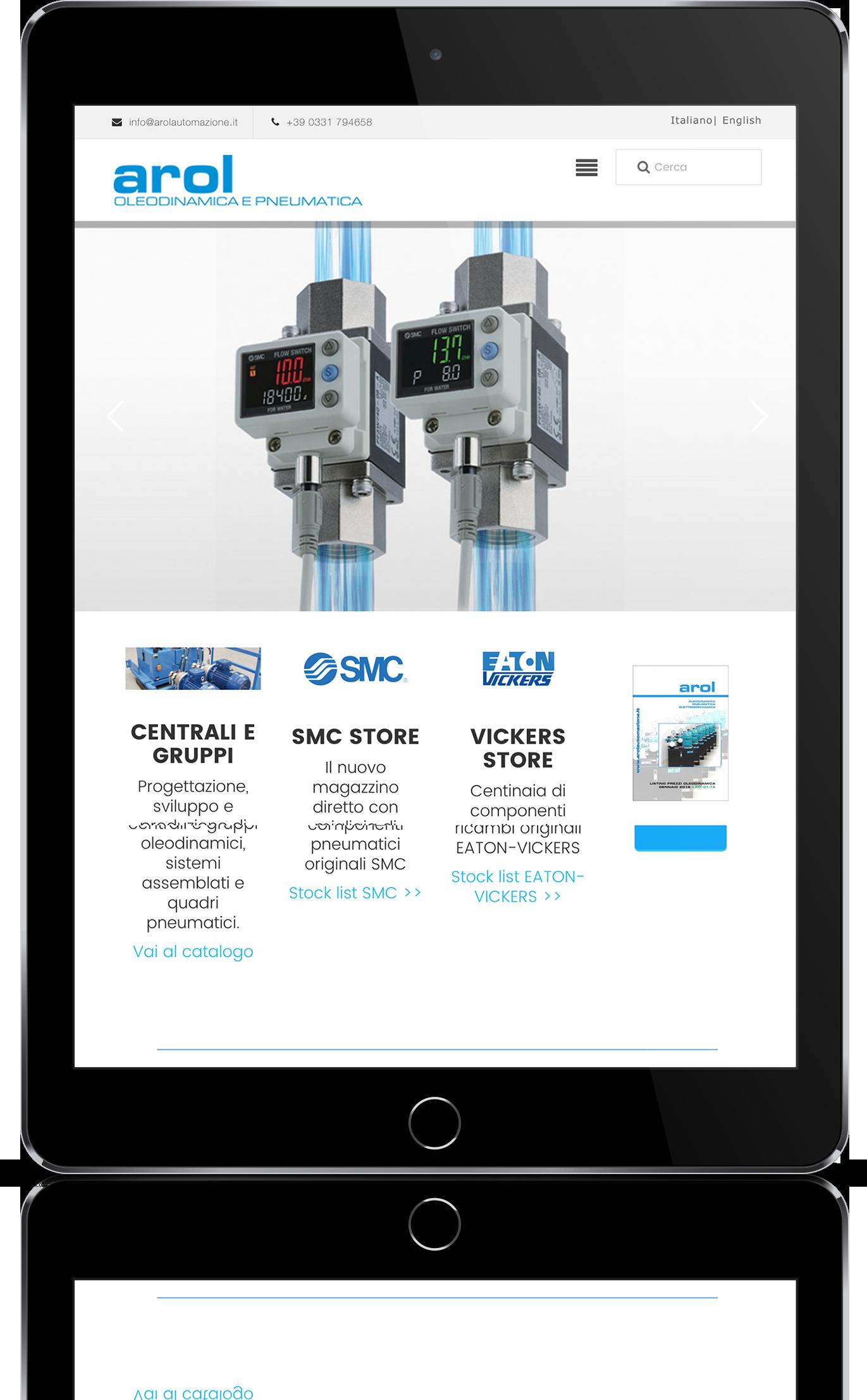 mockup tablet sviluppo sito web responsivo arol automazione progetti